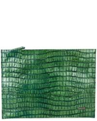 Cartera Sobre de Cuero Verde de Zanellato