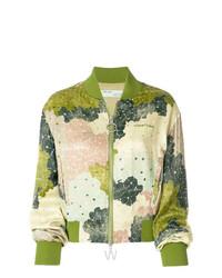 Cazadora de aviador con print de flores verde oliva de Off-White