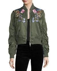 Cazadora de aviador con print de flores verde oscuro