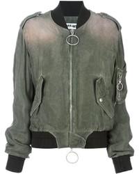 Cazadora de aviador de algodón verde oliva de Off-White