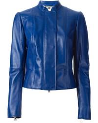 Cazadora de Aviador de Cuero Azul de Alexander McQueen