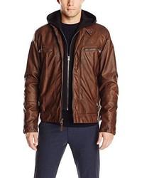 Cazadora de aviador de cuero en marrón oscuro de Calvin Klein