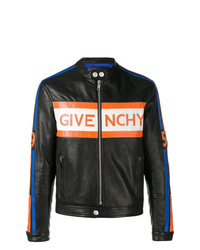 Cazadora de aviador de cuero estampada negra de Givenchy