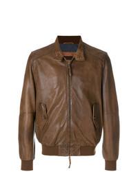 Cazadora de aviador de cuero marrón