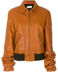 Cazadora de aviador de cuero marrón de Saint Laurent