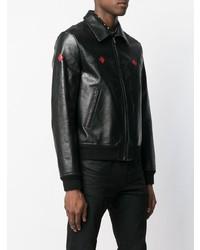 Cazadora de aviador de cuero negra de Saint Laurent
