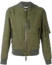 Cazadora de aviador de lana de estrellas verde oliva de Valentino