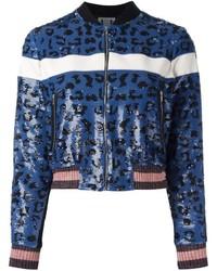 Cazadora de aviador de lentejuelas de leopardo azul de Aviu
