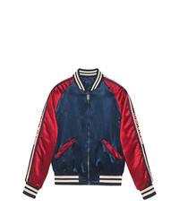 Cazadora de aviador en blanco y rojo y azul marino de Gucci