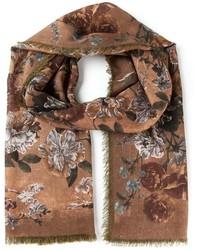 Chal con print de flores marrón de Valentino