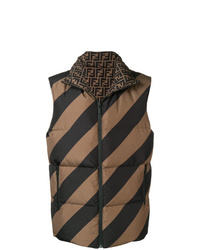 Chaleco de abrigo acolchado marrón de Fendi