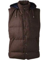 Chaleco de abrigo de lana marrón de Brunello Cucinelli
