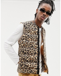 Chaleco de abrigo de leopardo marrón claro