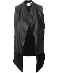 Chaleco de cuero negro de DKNY