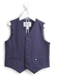 Chaleco de vestir de algodón azul marino de Armani Junior