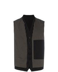 Chaleco de vestir de algodón de rayas verticales negro de Ann Demeulemeester