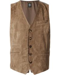 Chaleco de vestir de ante marrón de Eleventy