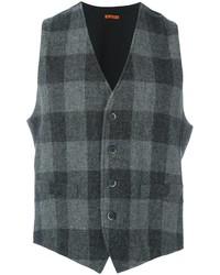 Chaleco de vestir de lana a cuadros en gris oscuro de Barena