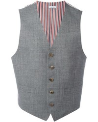 Chaleco de vestir de lana de rayas horizontales gris de Thom Browne