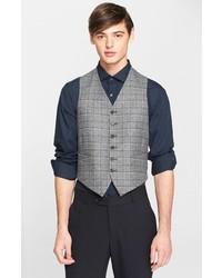 Chaleco de vestir de lana de tartán gris