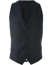 Chaleco de vestir de lana en gris oscuro de Armani Collezioni