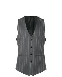 Chaleco de vestir de rayas verticales en gris oscuro de Versace