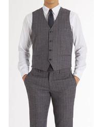 Chaleco de vestir de tartán en gris oscuro