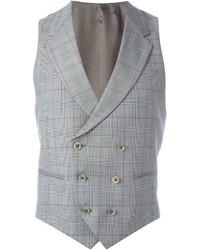 Chaleco de vestir de tartán gris de Caruso