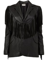 Chaqueta de Cuero Сon Flecos Negra de Saint Laurent