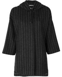 Chaqueta de lana de rayas verticales en gris oscuro de Fabiana Filippi