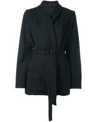 Chaqueta de lana de rayas verticales negra de Odeeh