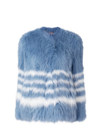 Chaqueta de piel azul de Yves Salomon