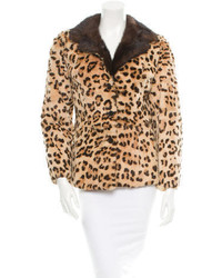 Chaqueta de piel de leopardo marrón claro