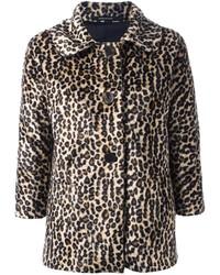 Chaqueta de piel de leopardo marrón