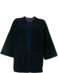 Chaqueta de Piel de Oveja de Cuero Azul Marino de Maison Margiela