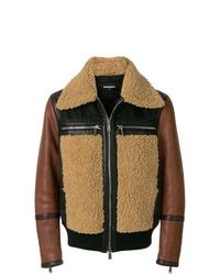 Chaqueta de piel de oveja marrón de DSQUARED2
