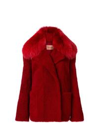 Chaqueta de piel roja de Yves Salomon