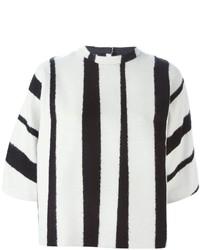 Chaqueta de rayas verticales en blanco y negro de Rochas