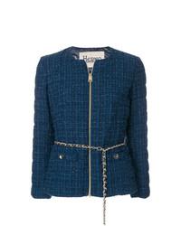 Chaqueta de tweed azul marino de Herno
