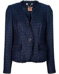 Chaqueta de Tweed Azul Marino de Tory Burch