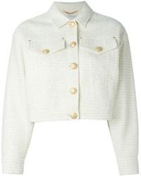 Chaqueta de tweed blanca de Moschino