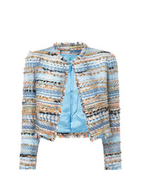 Chaqueta de tweed bordada celeste de Isabel Sanchis