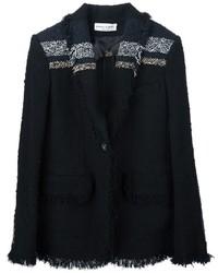 Chaqueta de tweed de rayas horizontales negra de Sonia Rykiel