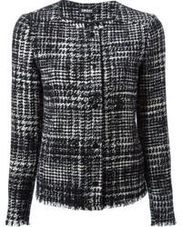 Chaqueta de tweed en negro y blanco de DKNY