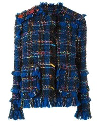 Chaqueta de tweed сon flecos azul marino de MSGM