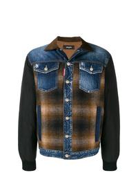 Chaqueta estilo camisa a cuadros marrón de DSQUARED2