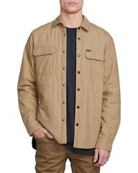 Chaqueta estilo camisa acolchada marrón claro