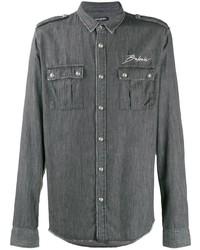 Chaqueta estilo camisa bordada en gris oscuro de Balmain