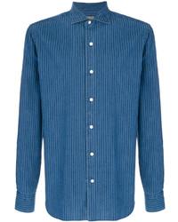 Chaqueta estilo camisa de algodón de rayas verticales azul de Barba