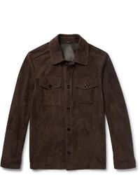 Chaqueta estilo camisa de ante en marrón oscuro